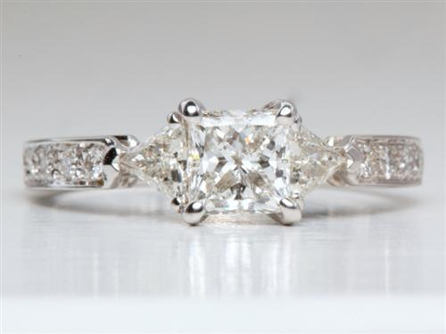 White Gold 0.71 Princess cut Diamond Pave Rings