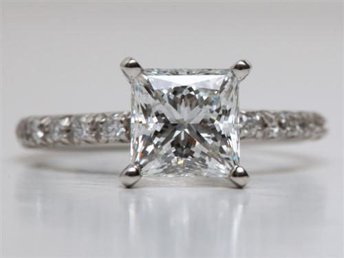 Platinum 2.01 Princess cut Micro Pave Rings