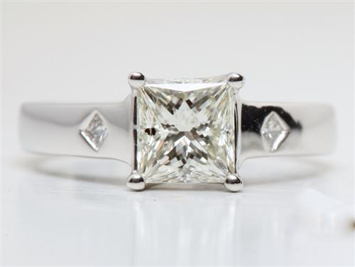 White Gold 1.12 Princess cut Solitaire Ring Mountings