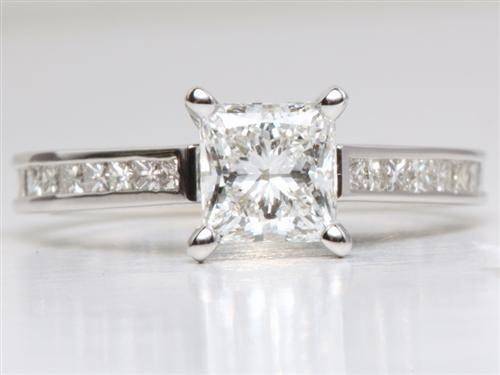 White Gold 1.15 Princess cut Channel Engagement Ring