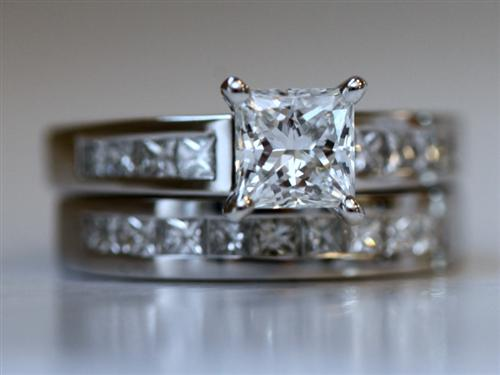 Platinum 1.01 Princess cut Bridal Set Wedding Rings