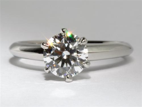 Platinum 1.04 Round cut Engagement Ring