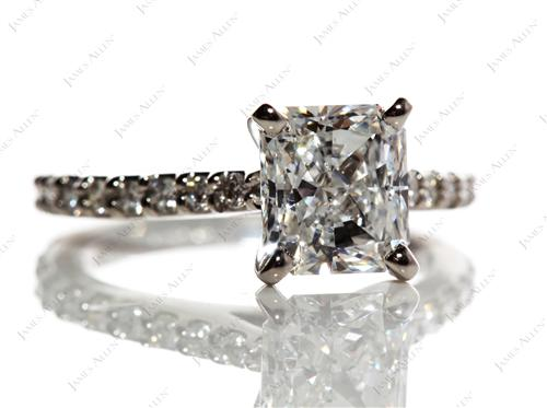 Platinum 1.72 Radiant cut Engagement Rings With Side Stones