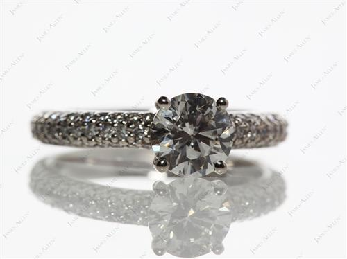 Platinum 1.04 Round cut Micro Pave Ring