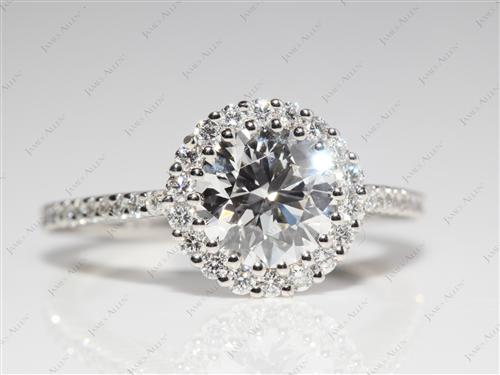 Platinum 1.22 Round cut Micro Pave Ring