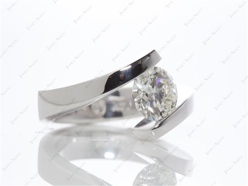 White Gold 1.51 Round cut Diamond Tension Rings