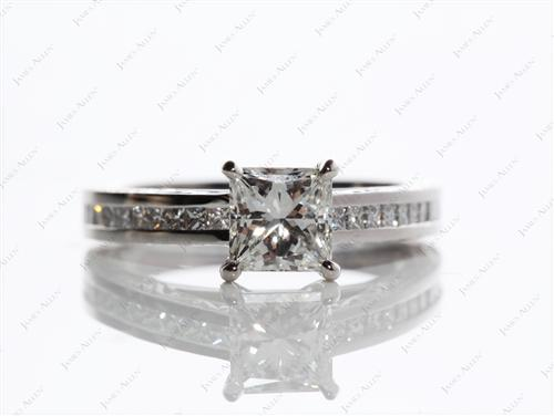 Platinum 1.11 Princess cut Channel Set Diamond Rings