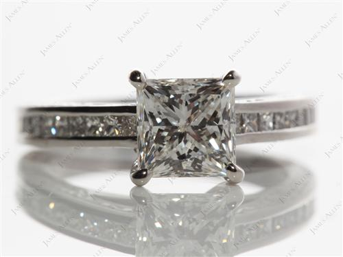 Platinum 1.50 Princess cut Channel Set Engagement Ring