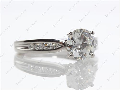 Platinum 1.59 Round cut Channel Set Diamond Engagement Ring