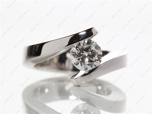 White Gold 0.84 Round cut Tension Diamond Ring