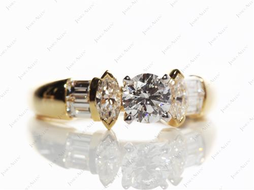 Gold 0.50 Round cut Side Stone Engagement Rings