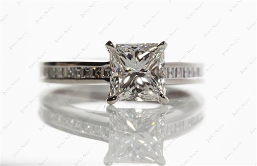 Platinum 1.51 Princess cut Channel Engagement Rings
