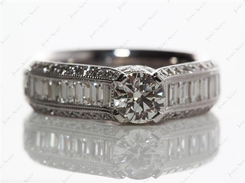 White Gold  Micro Pave Engagement Ring