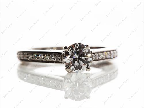 Platinum 0.61 Round cut Pave Diamond Ring