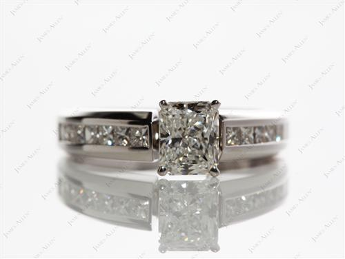 White Gold 0.75 Radiant cut Channel Set Diamond Engagement Rings