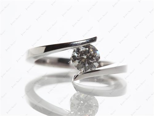 White Gold 0.70 Round cut Solitaire Ring Mountings