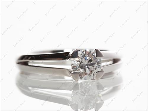 White Gold 0.68 Round cut Diamond Rings