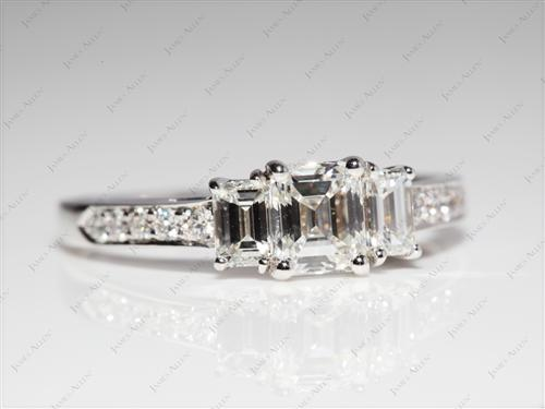 White Gold 0.70 Emerald cut Sidestone Engagement Ring