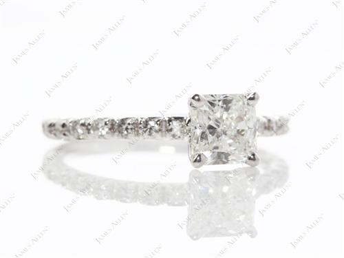 White Gold 1.05 Radiant cut Diamond Pave Rings