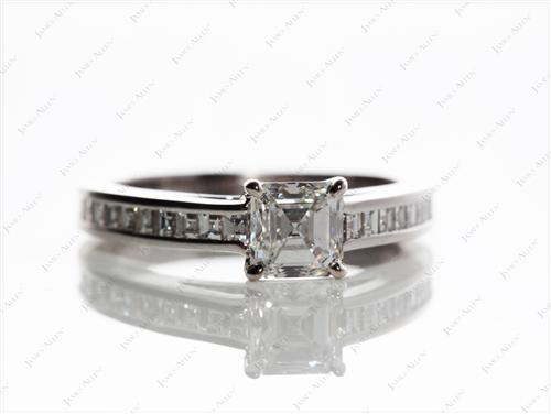 White Gold 0.77 Emerald cut Channel Setting Engagement Ring
