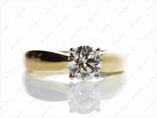 Gold 0.93 Round cut Solitaire Engagement Rings