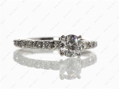 Platinum 0.51 Round cut Diamond Ring