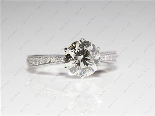 White Gold 1.55 Round cut Pave Diamond Rings