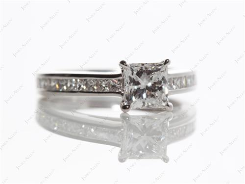 White Gold 0.80 Princess cut Channel Set Diamond Rings