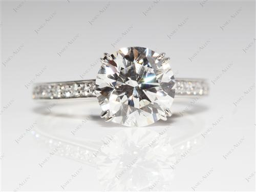 Platinum 2.06 Round cut Pave Ring Set