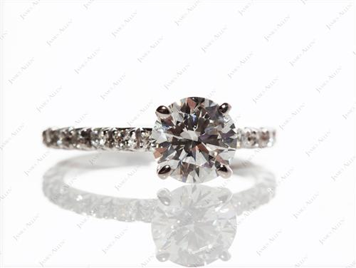 White Gold 1.25 Round cut Engagement Ring Micro Pave
