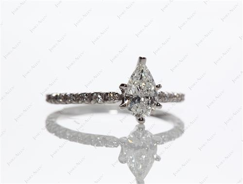 White Gold 0.56 Pear shaped Pave Diamond Ring