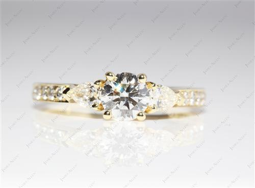 Gold 0.63 Round cut Engagement Ring With Sidestones