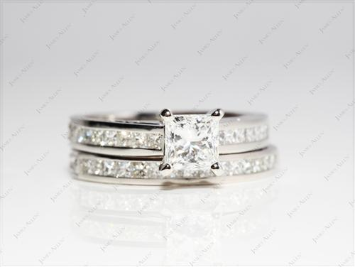 Platinum 1.01 Princess cut Diamond Wedding Rings