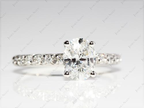 Platinum 1.18 Oval cut Pave Ring Settings