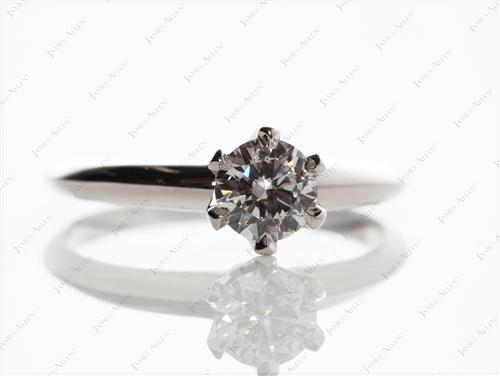 Platinum 0.50 Round cut Solitaire Ring