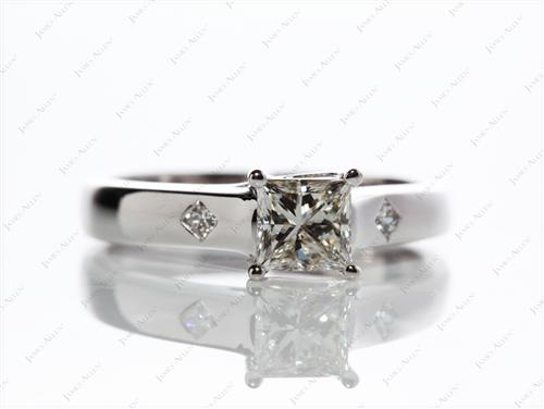White Gold 0.71 Princess cut Solitaire Ring Setting