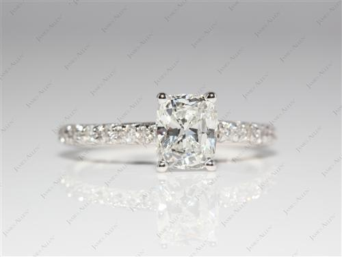 White Gold 1.14 Cushion cut Pave Diamond Ring