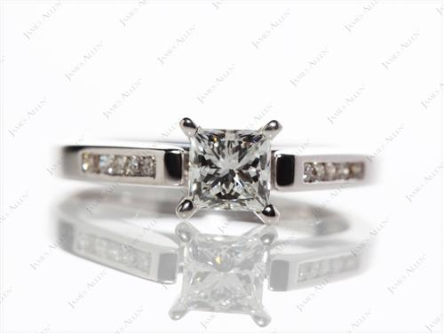 White Gold 0.59 Princess cut Channel Setting Engagement Ring