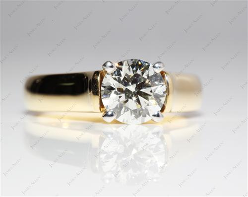 Gold 1.25 Round cut Solitaire Engagement Ring