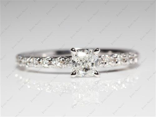White Gold 0.54 Cushion cut Pave Engagement Ring