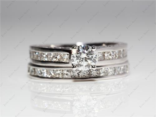 White Gold 0.46 Round cut Wedding Sets