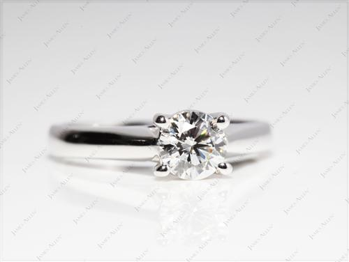 White Gold 0.73 Round cut Diamond Ring