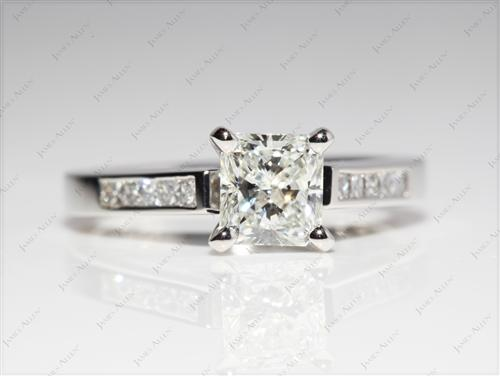 Platinum 1.03 Radiant cut Diamond Channel Ring