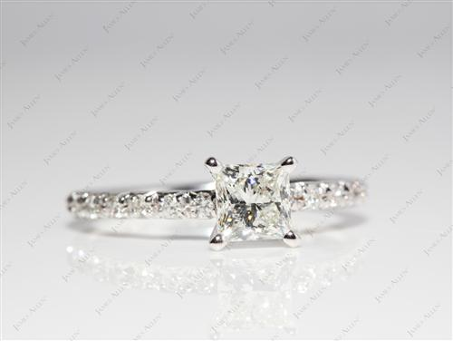 White Gold 0.81 Princess cut Pave Engagement Rings