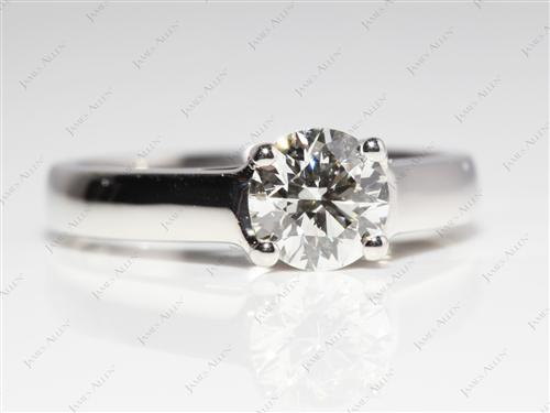 Platinum 0.80 Round cut Diamond Solitaire Engagement Ring