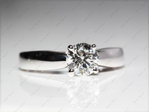 White Gold 0.90 Round cut Diamond Solitaire Ring Settings