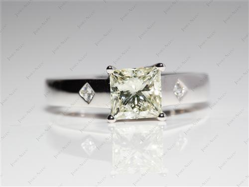 White Gold 1.02 Princess cut Engagement Rings