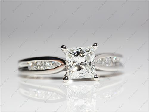 Platinum 1.16 Princess cut Channel Cut Ring