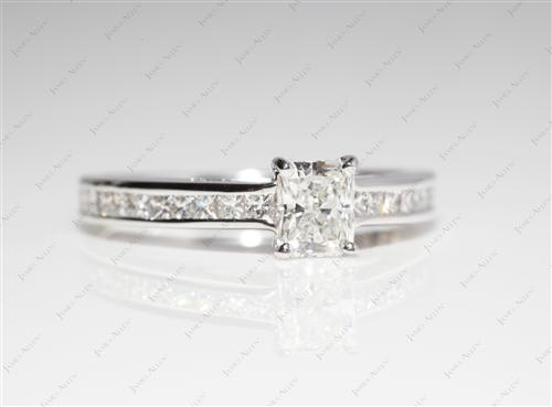 White Gold 0.52 Radiant cut Channel Setting Engagement Ring