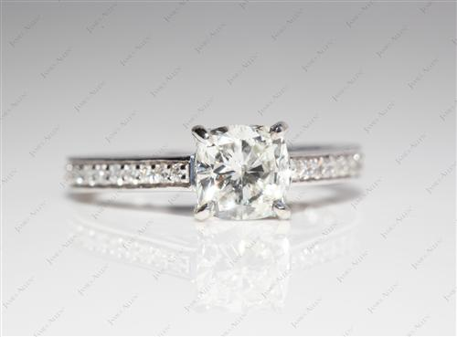 White Gold 1.01 Cushion cut Micro Pave Rings